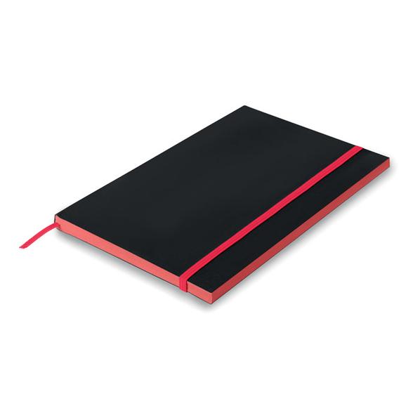 Блокнот в линейку на резинке А5, 48 листов, черный/ розовый - фото № 1