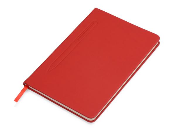 Блокнот А5 Magnet soft-touch с магнитным держателем для ручки, красный - фото № 1