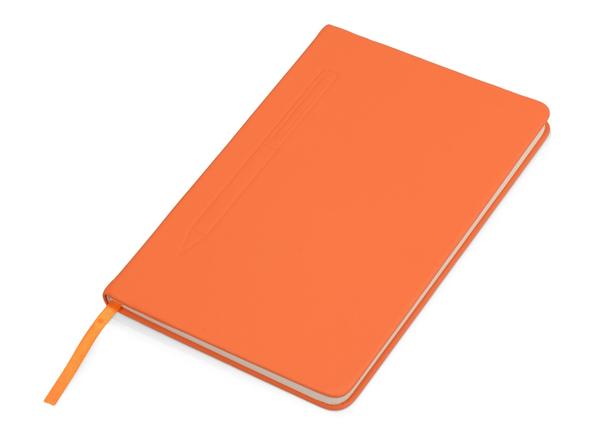 Блокнот А5 Magnet soft-touch с магнитным держателем для ручки, оранжевый - фото № 1