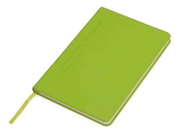 Блокнот А5 Magnet soft-touch с магнитным держателем для ручки, салатовый - фото № 1
