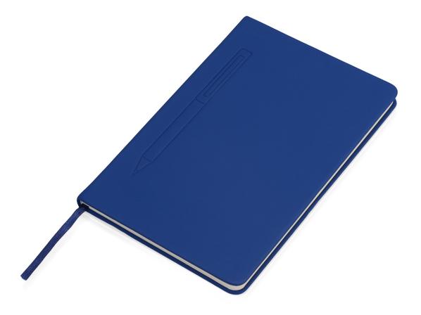 Блокнот А5 Magnet soft-touch с магнитным держателем для ручки, синий - фото № 1