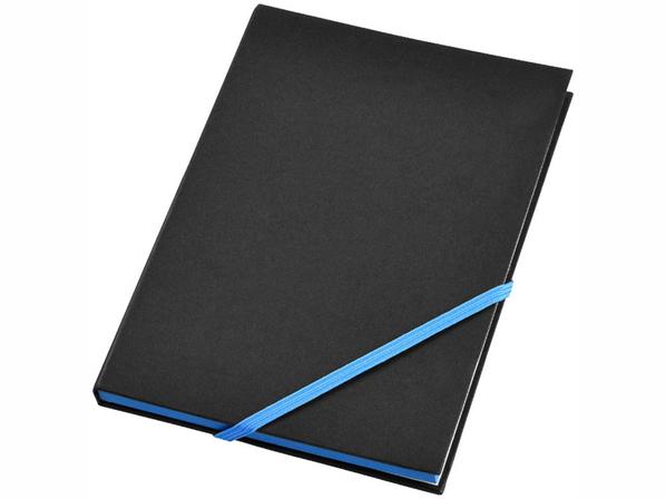 Блокнот в линейку на резинке Travers А5, 80 листов, черный/ бирюзовый - фото № 1