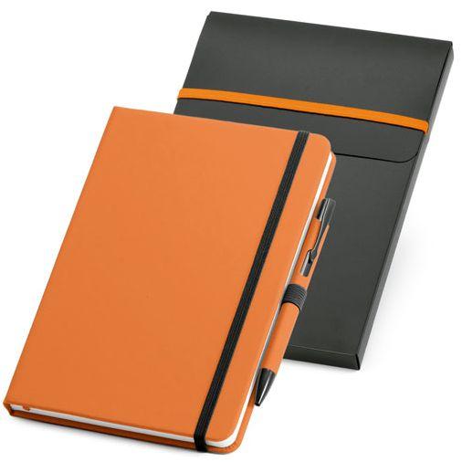 Блокнот нелинованный на резинке с ручкой Advance с ручкой, 80 листов, оранжевый/ черный