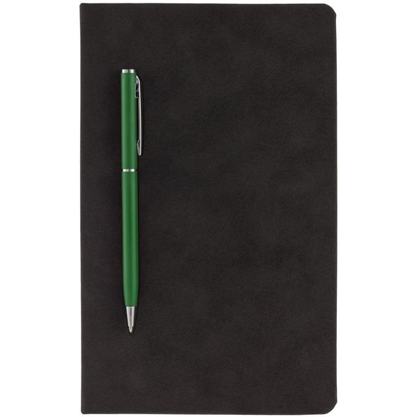 Блокнот в точку Magnet с ручкой, черный / зеленый - фото № 1