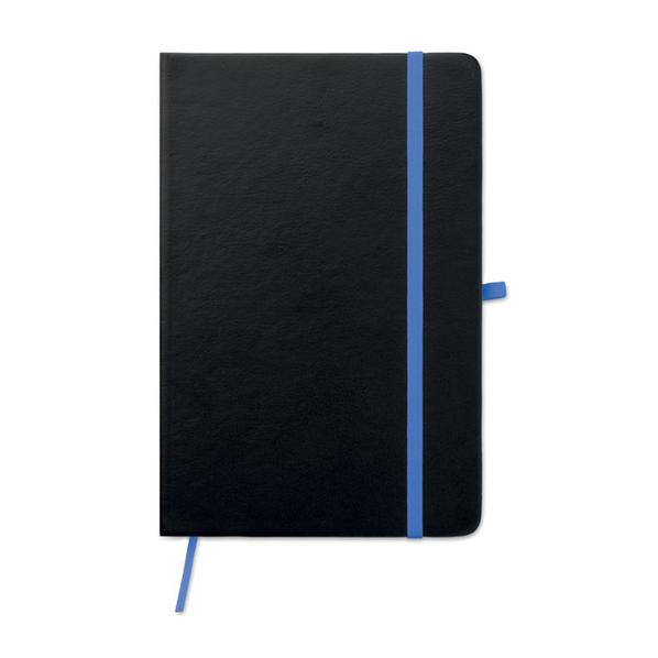 Блокнот в линейку на резинке А5, 96 стр., черный/ синий - фото № 1