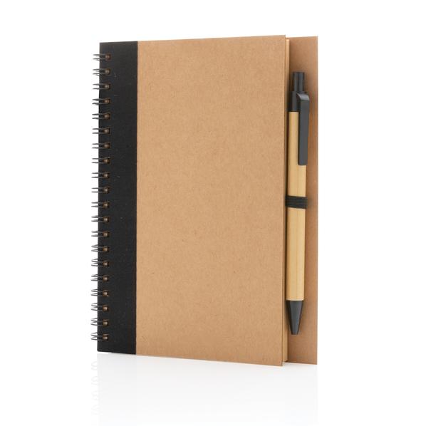 Блокнот на спирали с ручкой XD Collection Kraft, крафт / черный - фото № 1
