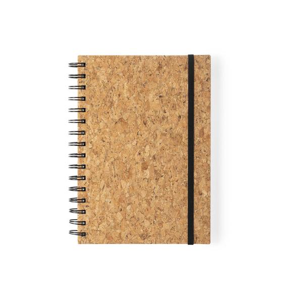 Блокнот с обложкой из пробкового дерева Xiankel, крафт/ черный - фото № 1