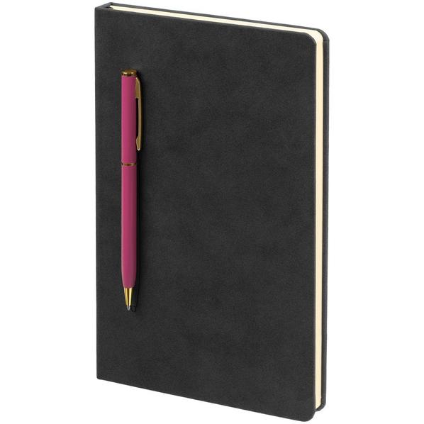Блокнот в точку с ручкой Контекст Magnet Gold, черный / розовый - фото № 1