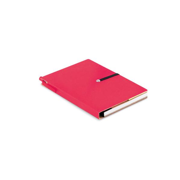 Блокнот в линейку на резинке со стикерами и ручкой A6, 80 страниц, розовый - фото № 1