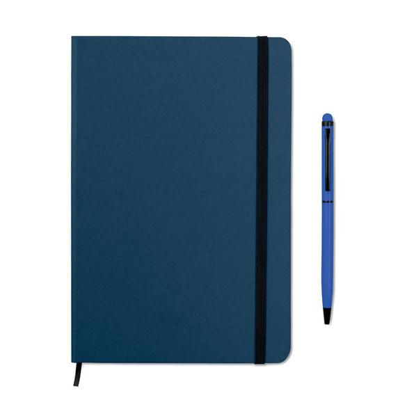 Блокнот на резинке с авторучкой А5, синий - фото № 1