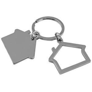 Брелок в виде домика без окон, пара, серый - фото № 1