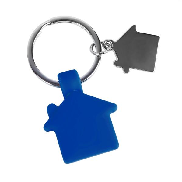 Брелок в виде домика с петелькой HOME металл-силикон, синий - фото № 1