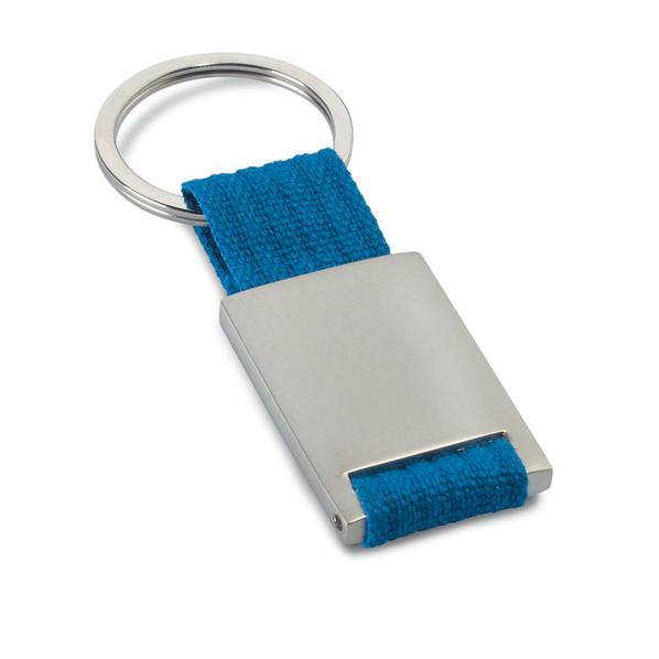Брелок прямоугольный со стропой, серый/синий - фото № 1