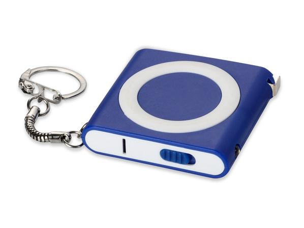 Брелок-рулетка с фонариком Книга, 1м, синяя - фото № 1