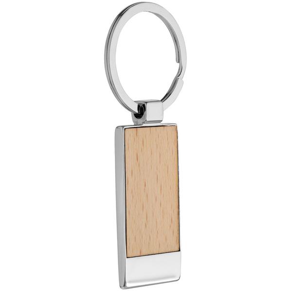 Брелок Wood Rectangle, бежевый/ серебристый - фото № 1