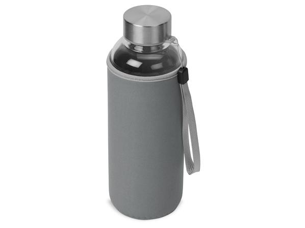 Бутылка для воды стеклянная c чехлом Pure, серая - фото № 1