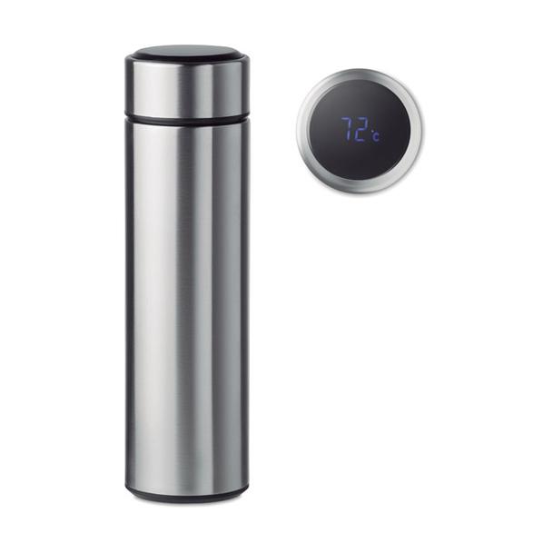 Бутылка с термометром, серебряная / чёрная - фото № 1