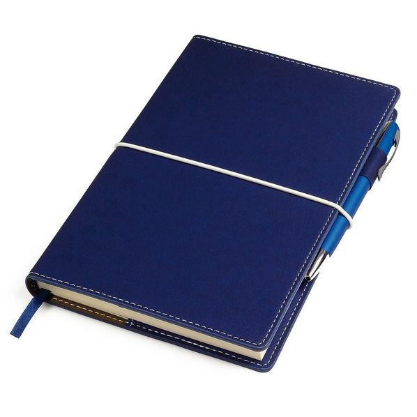 Бизнес-блокнот в линейку на резинке thINKme Business, 256 стр., синий - фото № 1