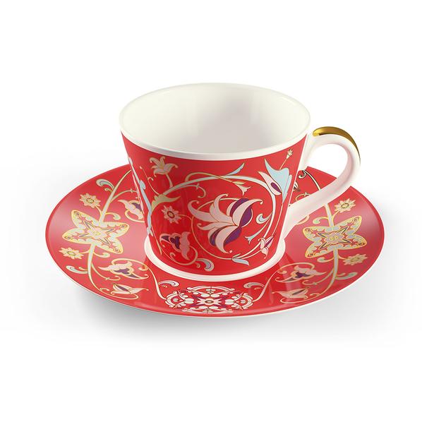 Чайная пара Farforite «Багряное золото» 250 мл в подарочной коробке, красная / золотая - фото № 1