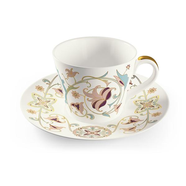 Чайная пара Farforite «Золотой лен» 250 мл в подарочной коробке, розовая / зеленая - фото № 1