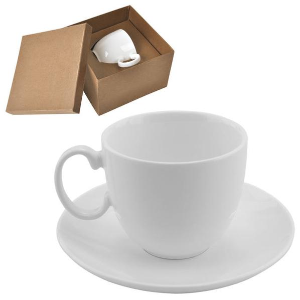 Чайная пара Романтика в подарочной упаковке, 210мл, фарфор, деколь, белый - фото № 1