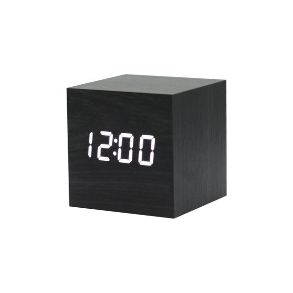 Часы-метеостанция многофункциональная в виде куба, черная - фото № 1