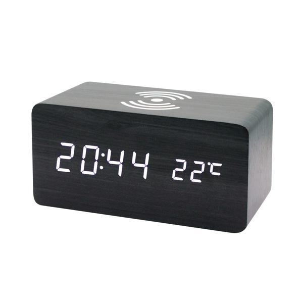Часы-метеостанция с беспроводной зарядкой, черная - фото № 1