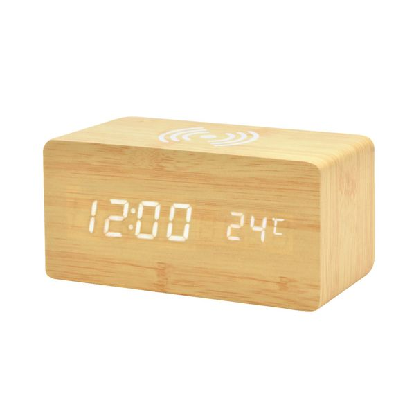 Часы-метеостанция с беспроводной зарядкой, крафт - фото № 1