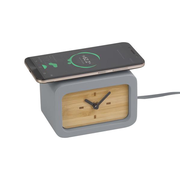 Часы с функцией беспроводной зарядки Stonehenge, серые / бежевые - фото № 1