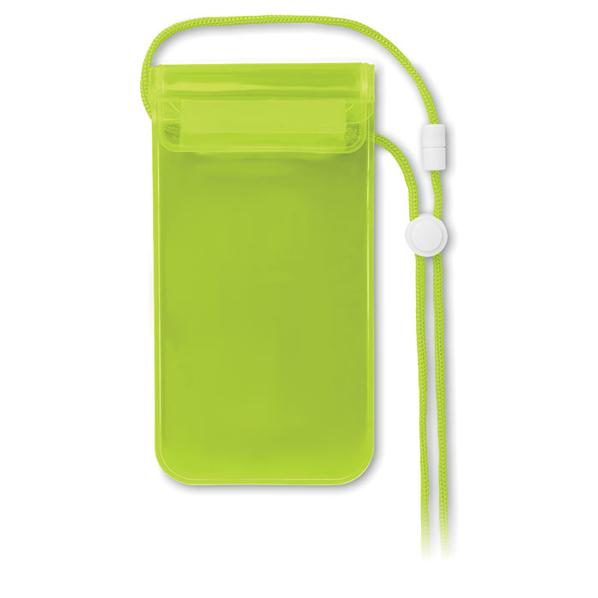 Чехол для смартфона водонепроницаемый на шею, прозрачный/ зеленый - фото № 1