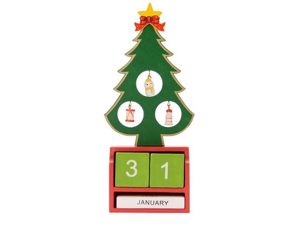 Украшение Елочка c календарем, зеленое / красное - фото № 1