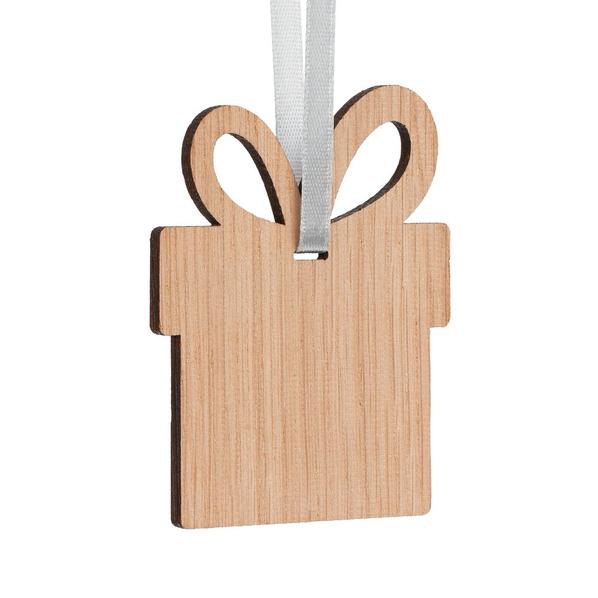 Подвеска деревянная Сделано в России Carving Oak в форме подарка, натуральное дерево - фото № 1