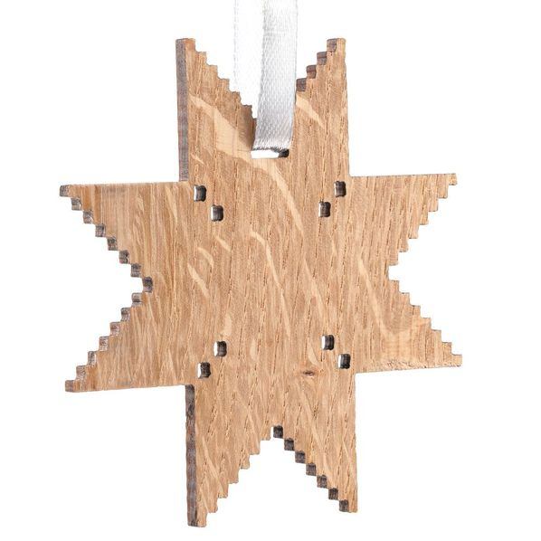 Деревянная подвеска Carving Oak, в форме снежинки - фото № 1