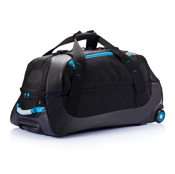 Дорожная сумка на колесах Large adventure, черный, синий - фото № 1