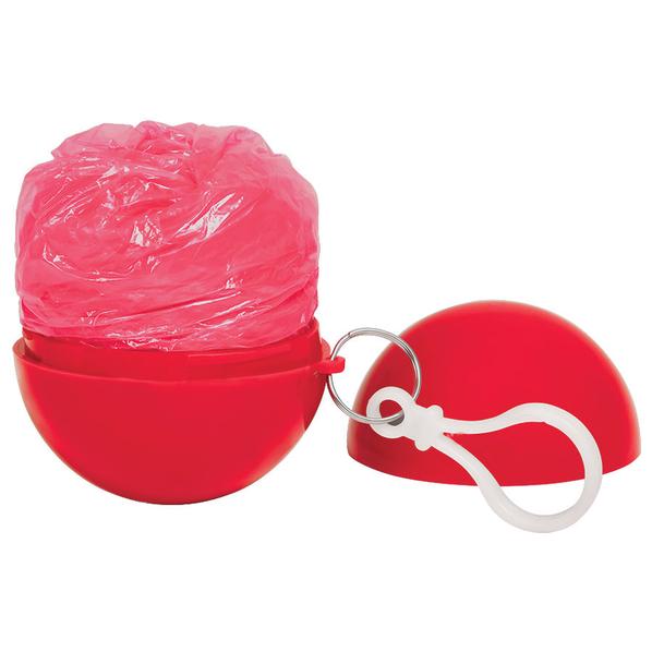 Дождевик в круглом футляре с карабином Promo, красный - фото № 1