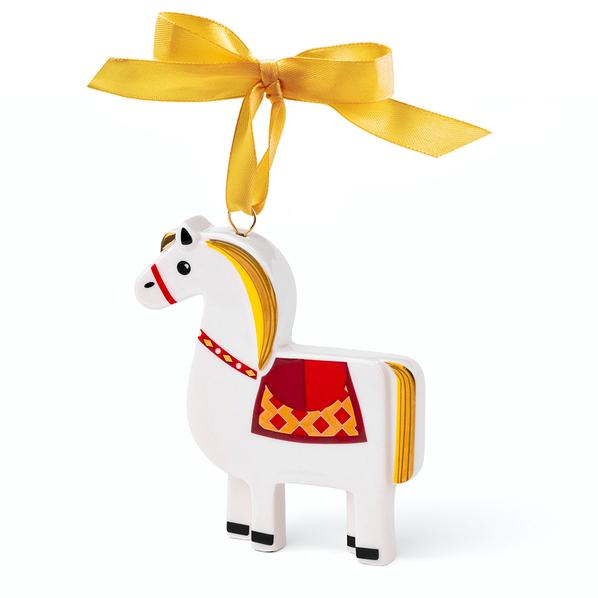 Елочная игрушка Лошадка в пенале, разноцветная - фото № 1