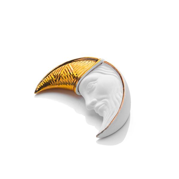 Елочная игрушка Месяц в упаковке багет, белая / золотая  - фото № 1