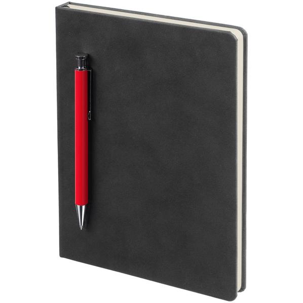 Ежедневник недатированный с ручкой Контекст Magnet А5, черный / красный - фото № 1