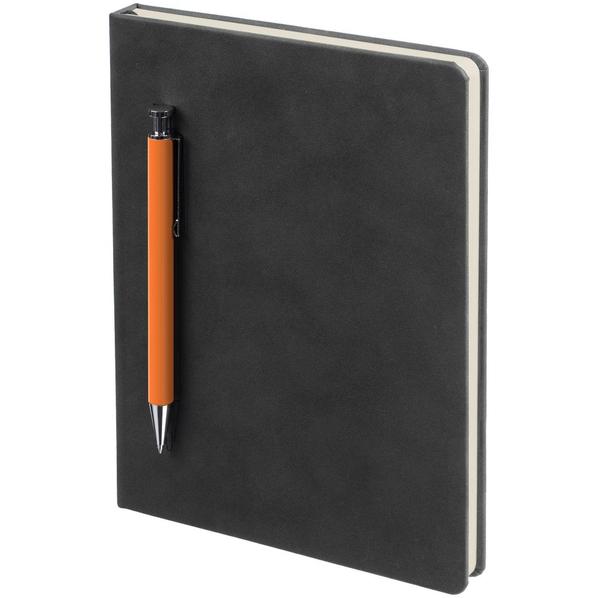 Ежедневник недатированный с ручкой Контекст Magnet А5, черный / оранжевый - фото № 1