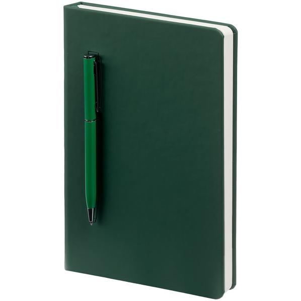 Ежедневник недатированный с ручкой Контекст Magnet Shall А5, зеленый - фото № 1