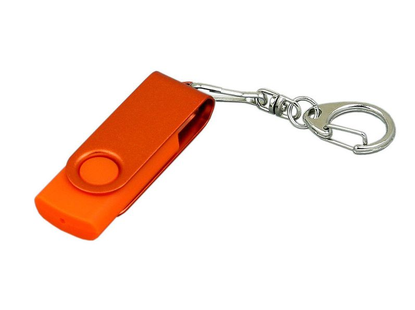 Флешка пластиковая с поворотным механизмом 64 Гб, оранжевая - фото № 1