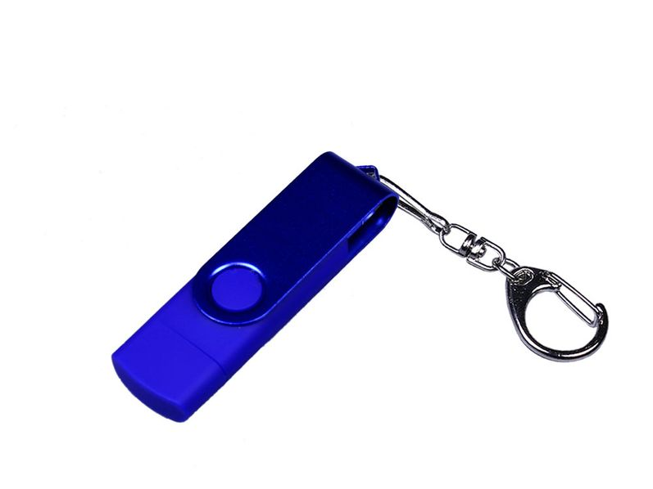 Флешка пластиковая с поворотным механизмом 16Гб, USB 2.0, micro USB, Type-С, синяя - фото № 1
