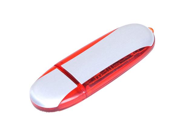 Флешка промо USB 2.0 на 8 Гб овальной формы, белая / красная - фото № 1