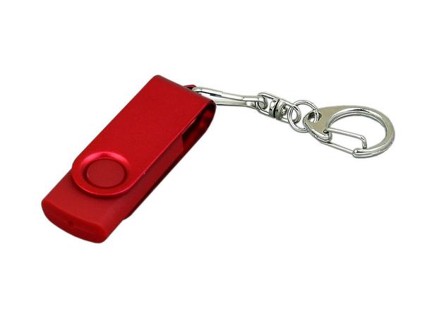 Флешка промо USB 2.0 на 8 Гб с поворотным механизмом и однотонным металлическим клипом, красная - фото № 1