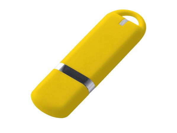 Флешка USB 2.0 на 16 Гб с soft-touch покрытием, жёлтая - фото № 1