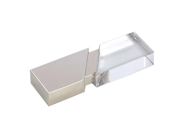 Флешка USB 2.0 на 32 Гб с кристаллом, серебряная / прозрачная - фото № 1