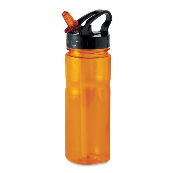 Бутылка для воды полупрозрачная, оранжевая / черная - фото № 1