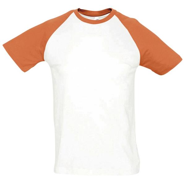 Футболка мужская Sol's Funky 150, белая / оранжевая - фото № 1