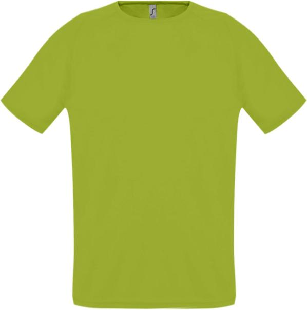 Футболка спортивная из сетки унисекс Sol's Sporty 140, зеленое яблоко