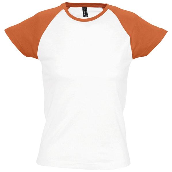 Футболка женская Sol's Milky 150, белая / оранжевый - фото № 1
